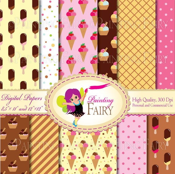digital paper pack sweet ice cream waffle strawberry chocolate vanilla waffel backgrounds. Black Bedroom Furniture Sets. Home Design Ideas