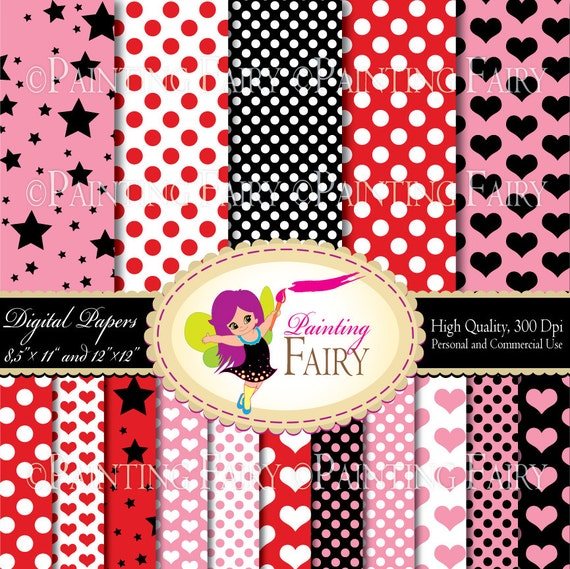 """Digital Paper Pack Polka Dots Pink Red Black backgrounds 16 papers in two sizes 8.5"""" x 11"""" and 12"""" x 12"""" Personal & Commercial Use pf00035-1"""