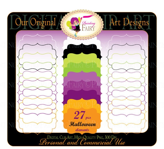 Digital clipart Halloween elements Fancy shapes Frames Labels Girl Boy Frame Scrapbooking Label clipart Halloween candy colors pf00044-1