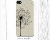 iPhone 4 and 4S case Dandelion on Linen Texture - HelloNutcase