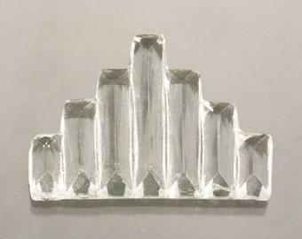 144 Ribbed Step Cut Deco Glass, Art Deco Geometric Pyramid, Clear Crystal 20x15mm, DIY Mixed Media Craft Supplies, Bulk Vintage Destash Gems
