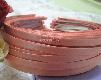 20pcs orange metal  Headband with satin 5mm Wide