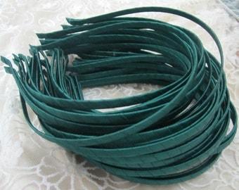 20pcs dark green Satin Covered Headband  5mm Wide