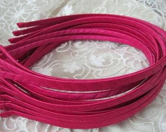 20pcs hot pink Satin Covered metal  Headband  5mm Wide