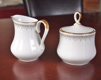 Vintage White and Gold China Alboth and Kaiser Cream and Sugar Set - Circa 1960 - Bavaria Germany