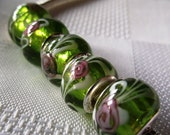 European Style murano glass bead silver lined green pink flowers 4PCS B165