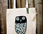 Owl canvas tote bag- organic- shopper bag