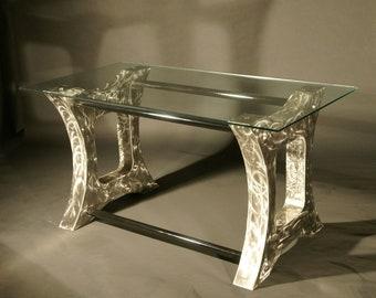 Modern Polished Steel Desk