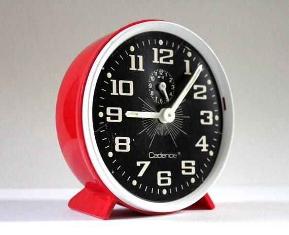 Vintage Retro Alarm Clock in Red by Cadence