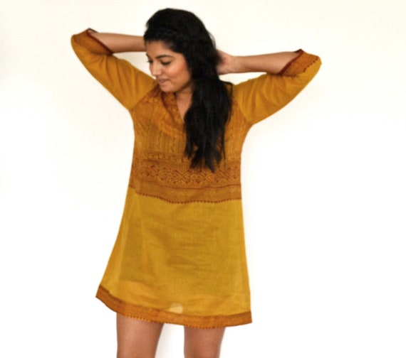The Maelu Tunic Dress in Honey - Hand Block Printed, Natural Vegetable Dyes, Cotton