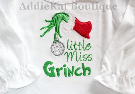 Little Miss Grinch Shirt - Pettiskirt Outfit Available
