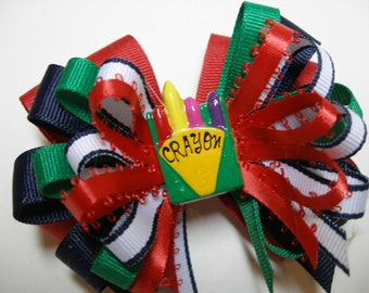 Preppy Back to School Boutique Crayon Hair Bow Stacked Layered 4 inch Toddler Girl Novelty  Red Navy Green