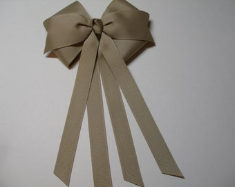 KHAKI Hair Bow Back to School Girl Uniform Streamers Tails Traditional Basic Classic Retro Style Toddler