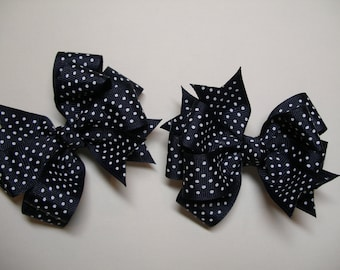 TWO Dark Nautical Navy Blue white Swiss Polka Dot Pig Tail Toddler Girl Grosgrain Hair Bows School Uniform 2 piece set
