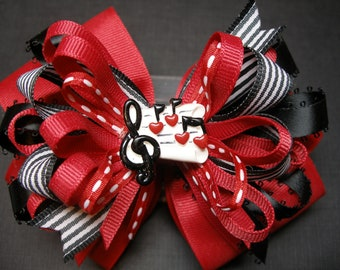 Large Red Black Music Notes Hair Bow Musical Concert Recital Band Camp Toddler to Big Girl Boutique