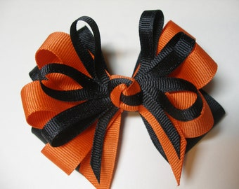 Orange Black Hair Bow Team Spirit Wear Halloween