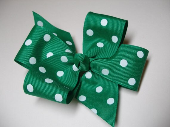 Primary Emerald Kelly Irish GREEN White Polka Dot Hair Bow Simple Traditional Basic School cheer uniform