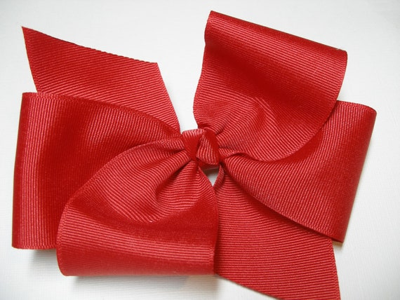 BIG Solid Red Hair Bow Grosgrain LARGE USA 4th of July Girl Toddler Cheer School Uniform