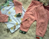 Baby Girls 6-9 month two piece outfit. Yellow polka dot shirt with pink pants -Ready to ship- (Londin Lux Brand)