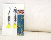 Vintage Citron Blossom Earrings with Charcoal Beads