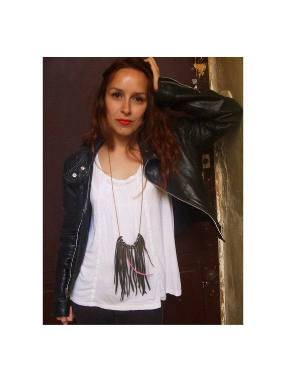 Army green leather fringes necklace