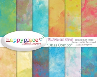 Watercolour Digital Papers, Paint Texture, Scrapbooking, Background, Invitation Supplies, Instant Download. Commercial use, paint background