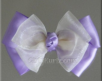 Purple & Ivory Layered Hair Bow Easter Hair Bow Sofia the First Bow