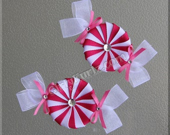 HOT PINK Peppermint Candy Hair Clip, Candy Hair Bow, Candy Hair Clip, Summer Hair Bow, Hair Bow for Girls