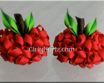 Apple Hair Bow, Back to School Hair Bow, Snow White Bow, Kurly Pom Pom Hair Bow, Apple hair Clip, Hair Bows for Girls