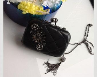 Vintage Black leather metal floral clutch with beaded tassels