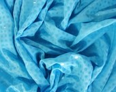Sky blue sequin dots nylon spandex stretch knit fabric, by the yard