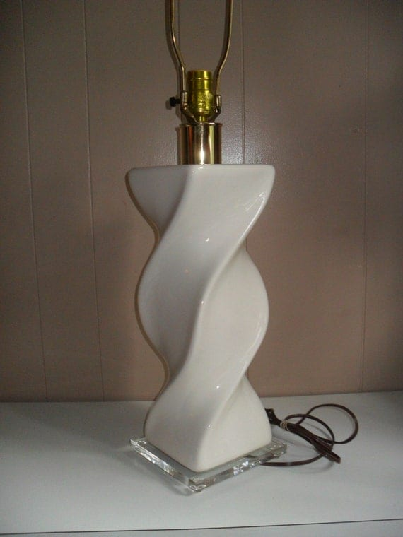White Ceramic Twist Table Lamp On Lucite Base Hollywood
