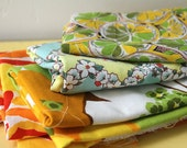 Vintage Fabric Lot - Floral Yellows