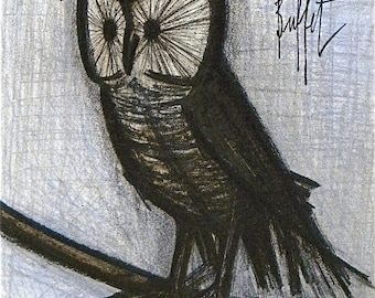"Bernard Buffet ""The little owl"" Original Lithograph 1968"