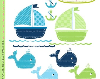 SALE Whales Clip Art, Clip Art Blue Whales and boat , Personal & Small Commercial Use, Card Making, Scrapbooking  M.17