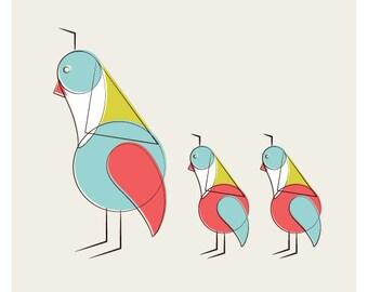 Mid Century Partridge Bird Print