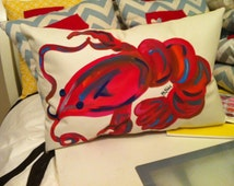 Painted Indoor Outdoor crawfish/lobster pillow