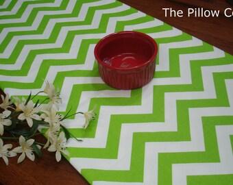 "Chevron Green  Table Runner - Wedding - 13"" X 72"" Table Cloth - Decorative Green Zig zag  Runner Stripe"