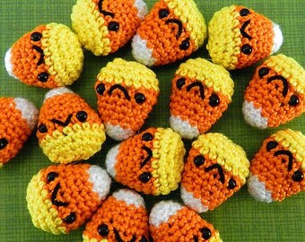 5 PIECE SET: Miniature Candy Corn - Amigurumi Plush for Halloween and Sweets Fans with Optional Key Chain or Phone Charm Attachments