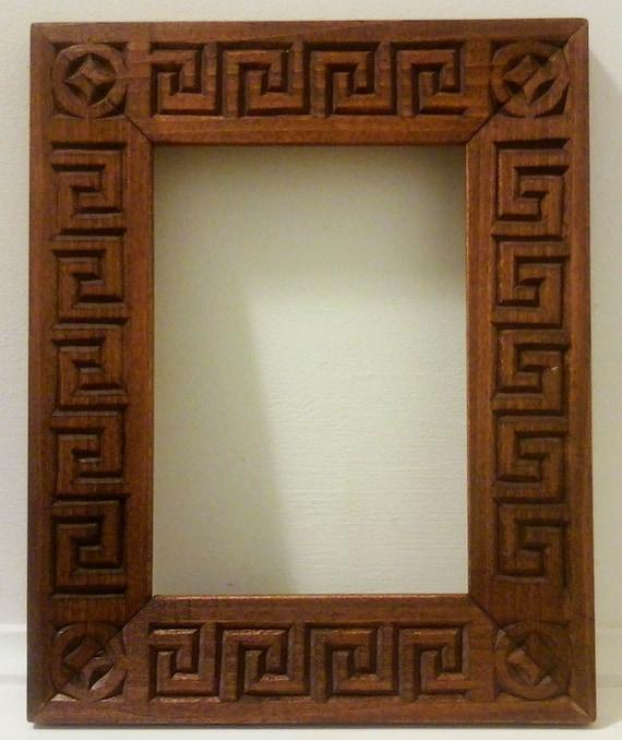 Carved Wood Frame Chip Carved Greek Key Design 5x7