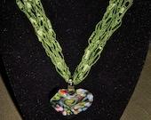 Ladder Crochet Necklace & Glass Heart Murano Pendant