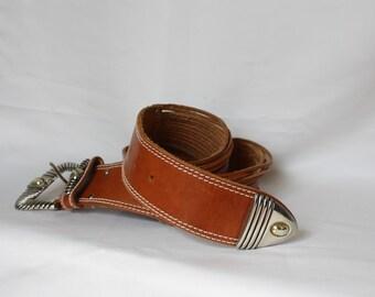 Brown Leather Western Belt / Vintage Leather Cowgirl Belt / 1980s Cowboy Leather Belt / Silver Buckle Belt / Split Leather Boho Belt  L 34