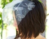 Brial Veil--Tulle Blusher with Floating Blossoms--Mod 1960s feel Meets Modern