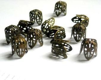 10 Antique Bronze Filigree Bead Caps - 18-BC-4