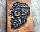 Halloween SKULL Day of the Dead Sign V-Carved in Montana Pine 1