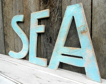 Large SEA Sign Coastal Wood Wall Art Beach Distressed Rustic Shabby