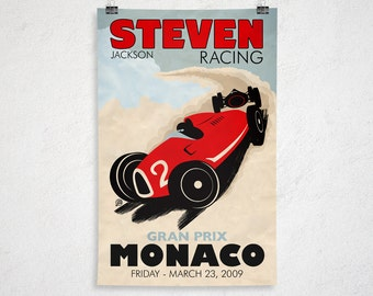 24x36 - Custom Retro Racing Poster - Printable Digital File