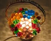 Antique Czech glass Beaded Basket Fruit Lamp