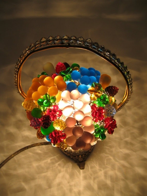 Items similar to antique czech glass beaded basket fruit