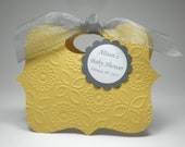Yellow with Grey Gender Neutral Baby Shower Favor Bag Box
